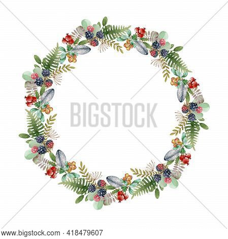Floral Rustic Wreath. Watercolor Illustration. Elegant Seasonal Round Decor From Forest Leaves, Herb