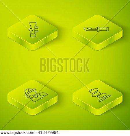 Set Isometric Line Hunter Knife, , Road Traffic Sign And Sniper Optical Sight Icon. Vector