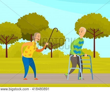 Old People Man And Woman On Walk In City Garden. Elderly Couple With Walking Cane And Walker In Park