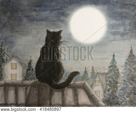 A Black Cat Sitting On A House Rooftop Look At White Full Moon Above The Town And Trees Under Dark B