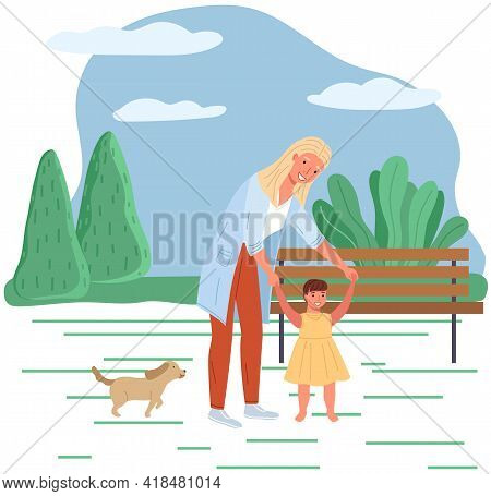 Mother Teaches Her Child To Walk. Baby Takes First Steps. Family Is Walking In Summer Park. Parent S