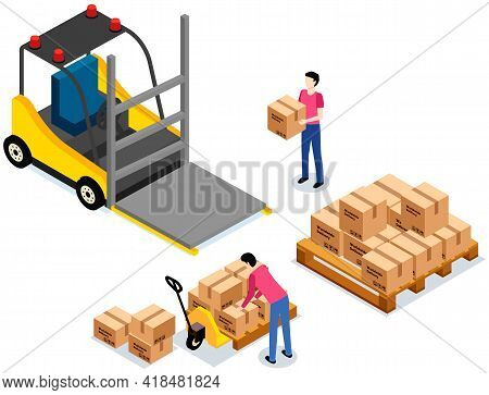 Worker Loading Boxes On Carrier. Postal Transportation. Man Holding Box, Put It On Stack With Boxes.
