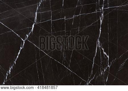 Elegant Hard Marble Background In Strict Black Tone.
