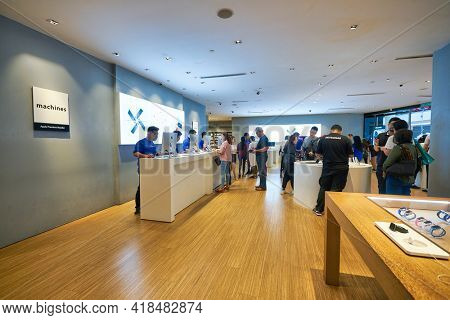 KUALA LUMPUR, MALAYSIA - CIRCA JANUARY, 2020: interior shot of Machines Suria KLCC store in Kuala Lumpur. Machines is the largest Apple Premium Reseller in Malaysia.