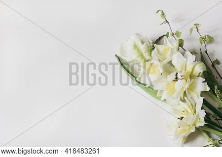 Feminine Floral Frame Composition. Decorative Web Banner Made Of Beautiful White And Yellow Tulips.