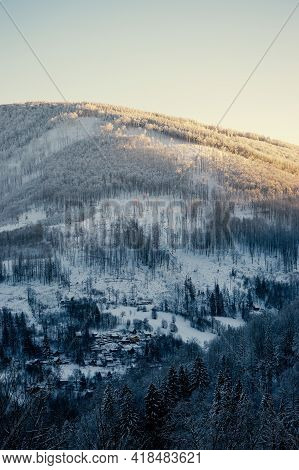 Adventure Winter Trip With View On Ostrý, Mountains In Beskydy