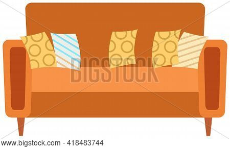 Soft Couch With Colorful Pillows. Leisure Furniture Vector. Sofa Or Divan Isolated On White Backgrou