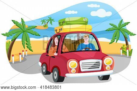 Family Is Going On Vacation, Journey On Weekend By Car. People In Red Vehicle On Background Of Sunny