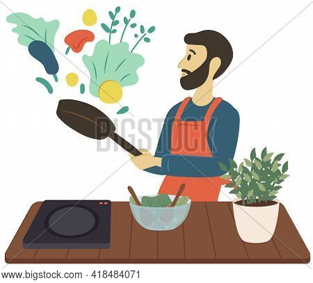 Male Character With Frying Pan And Vegetables. Veggies On Table, Salad Leaves In Bowl, Hobby, Vegeta