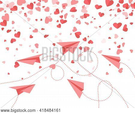 Airplanes Made Of Red Paper And Hearts On White Background. Aircraft Fly Between Valentines. Templat