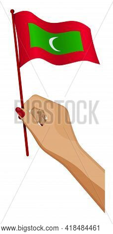Female Hand Gently Holds Small Maldives Flag. Holiday Design Element. Cartoon Vector On White Backgr