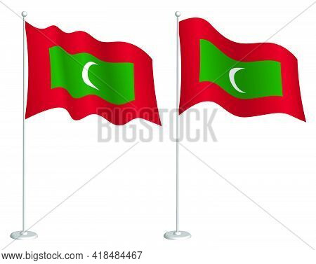 Flag Maldives On Flagpole Waving In Wind. Holiday Design Element. Checkpoint For Map Symbols. Isolat