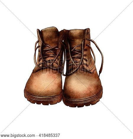 Watercolor Vintage Boots, Hiking Boots, Travel, Adventure