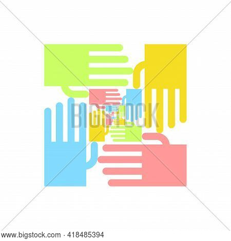 Friendship Logo. Mutual Aid Symbol. Hands Sign Unification. Friendliness Concept