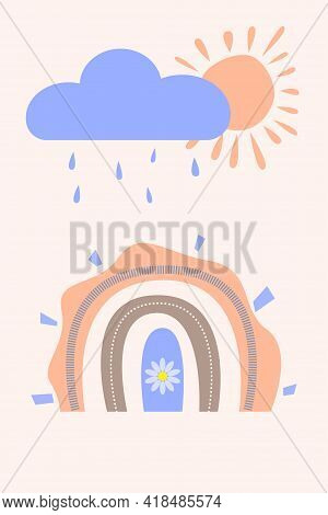 Cute Chilldish Rainbow Pattern In Scandinavian Modern Style. Boho Arc And Sun With Rain Clouds For C