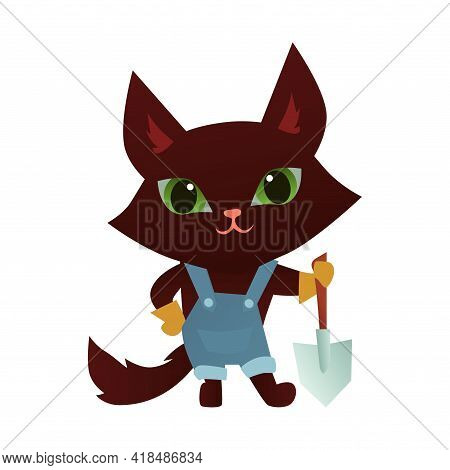 Cute Gardener Cat Character With Shovel On White Background. Cartoon Vector Illustration. Sticker Or