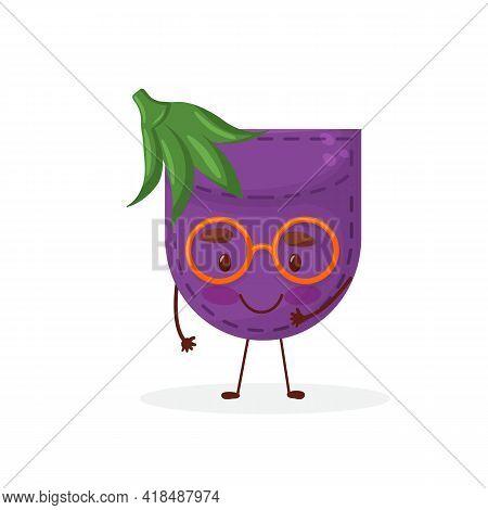 Egglant Shaped Patch Pocket. Character Pocket Egglant. Cartoon Style. Isolated On White Background.