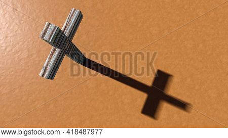 Concept or conceptual wooden logg  cross on an clay background. 3d illustration metaphor for God, Christ, Christianity, religious, faith, holy, spiritual, Jesus, belief or resurection