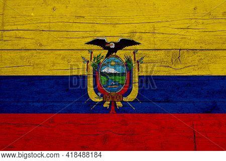 Flag Of Ecuador Wooden Texture Of The Flag Of Ecuador.