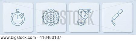 Set Line Stopwatch, Derailleur Bicycle Rear, Bicycle Cassette And Air Pump. White Square Button. Vec