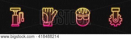 Set Line Bicycle Helmet, Air Pump, Gloves And Derailleur Bicycle Rear. Glowing Neon Icon. Vector