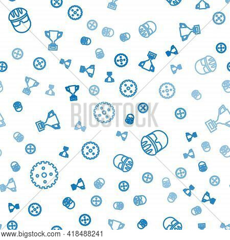 Set Line Bicycle Sprocket Crank, Helmet And Award Cup With Bicycle On Seamless Pattern. Vector