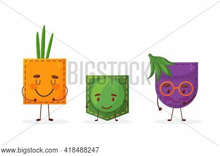 Set Egglant Peas Onion Shaped Patch Pocket. Character Pocket Egglant Peas Onion. Isolated On White B