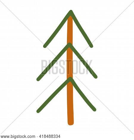 Spruce From Sticks. Flat Style Tree. Isolated Element On A White Background. Hand Drawn Vector Illus