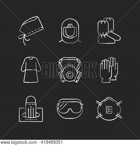 Medical Disposable Covers Chalk White Icons Set On Black Background. Surgical Cap. Boot Covers. Isol