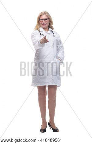 experienced female doctor with a stethoscope . isolated on a white background.