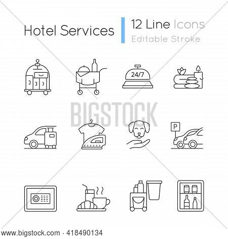 Hotel Services Linear Icons Set. Service For Visitors To Choose What To Eat. Cleaning Service To Roo