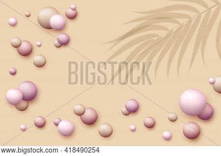 Vector Dynamic Background With Colorful Realistic 3d Balls. Round Sphere In Pearls Pastel Colors Wit