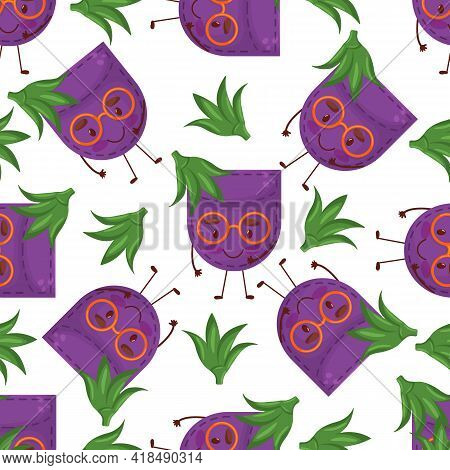 Seamless Pattern Egglant Shaped Patch Pocket. Character Pocket Egglant. Cartoon Style. Design Elemen