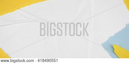 Old Ripped Torn Paper Background In White, Yellow, Blue Colors. Blank Creased Crumpled Dirty Posters