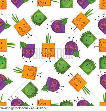 Seamless Pattern Egglant Peas Onion Shaped Patch Pocket. Character Pocket Egglant Peas Onion. Cartoo