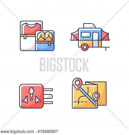 Traveler Pack Rgb Color Icons Set. Clothing Cubes. Tourist Baggage. Map For Camper. Universal Adapte