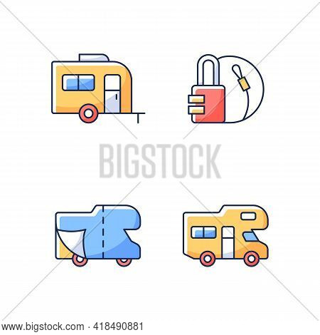 Trailer For Van Lifestyle Rgb Color Icons Set. Cover Sheet For Rv. Campground For Vans. Travel Lock.