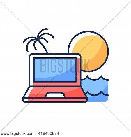 Digital Nomad Rgb Color Icon. Freelancer Laptop. Remote Job. Recreational Trip And Retreat. Nomadic