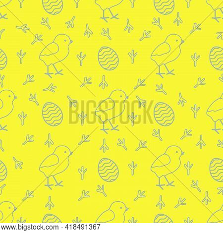 Seamless Pattern With Chicken, Traces Of Chicken, Decorated Eggs. Happy Easter. Festive Background.