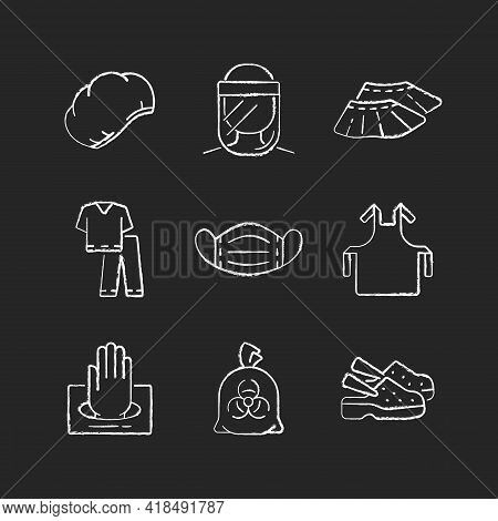 Disposable Medical Uniform Chalk White Icons Set On Black Background. Surgical Cap. Face Shield. Sho