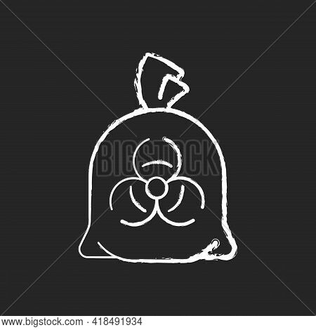 Infectious Waste Bag Chalk White Icon On Black Background. Disposable Biohazard Trash. Clinical Garb