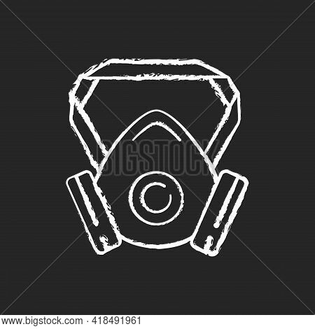 Respirator Chalk White Icon On Black Background. Protective Wear From Virus Infection. Facial Mask F