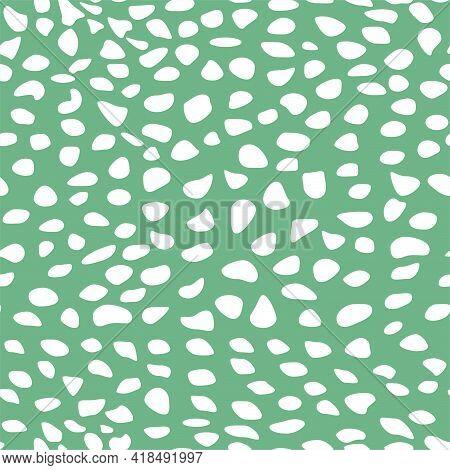 Abstract Hand Drawn Spots Seamless Pattern White Blotch Tracery On Green Background Irregular Rhythm