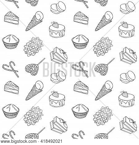 Food Item Black Outline Hand Drawn Seamless Pattern, Set Of Bakery, Sweets Collection Candy Cane, Cu