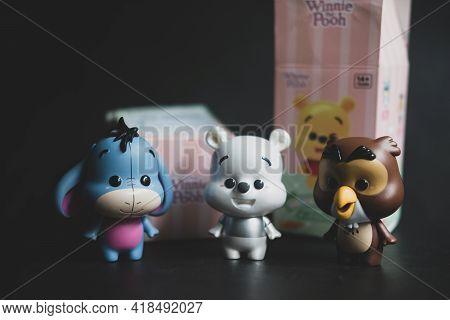 Samut Prakan , Thailand - April 27, 2021 : Cute Figurine Of Eeyore, Owl And Hidden Item From  Winnie
