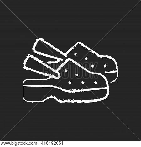 Medical Shoes Chalk White Icon On Black Background. Protective Personal Equipment, Sterile Foot Wear