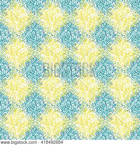 Vector Mediterranean Mosaic Style Stipple Paint Seamless Pattern Background. Geometric Texture With