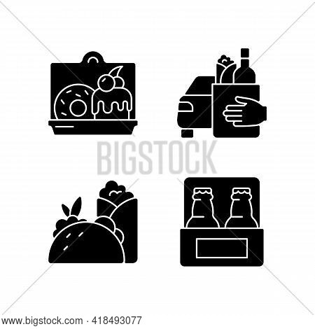 Pickup And Delivery Option Black Glyph Icons Set On White Space. Cakes And Desserts. Food Curbside P