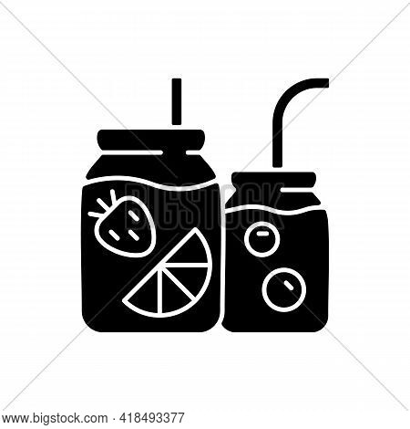 Fruit-infused Water Bottle Black Glyph Icon. Sliced Fruits And Vegetables In Glass Jar. Healthy, Ref