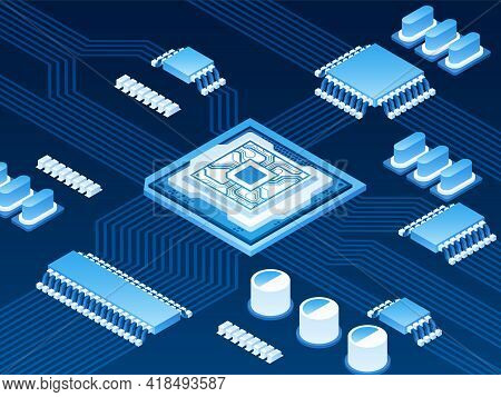 Isometric Vector Illustration Of Semiconductor, Crystalline Solids Intermediate